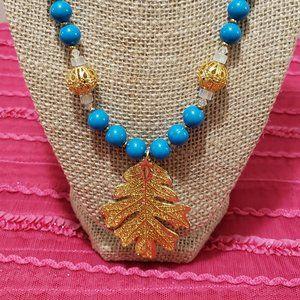 Blue/Crystal & Gold Leaf Necklace